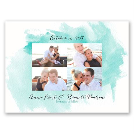 Watercolor Splash Save the Date Card