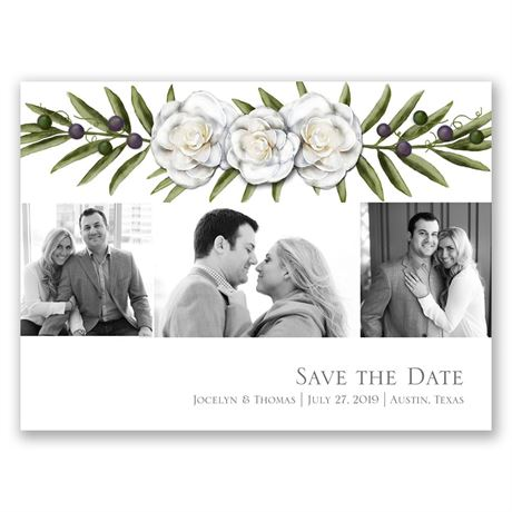 Elegant Gardenias Save the Date Card