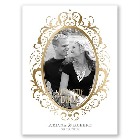 Antique Frame - Gold - Foil Save the Date Card