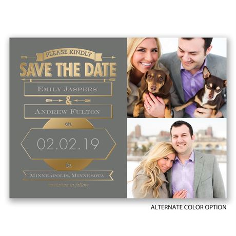 Please Kindly - Gold - Foil Save the Date Card