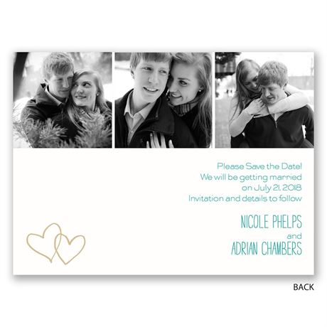 Hearts Shine - Gold - Foil Save the Date Card