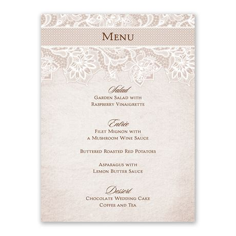 Lace Lining Menu Card