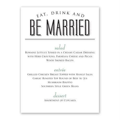 A Wedding Celebration Menu Card