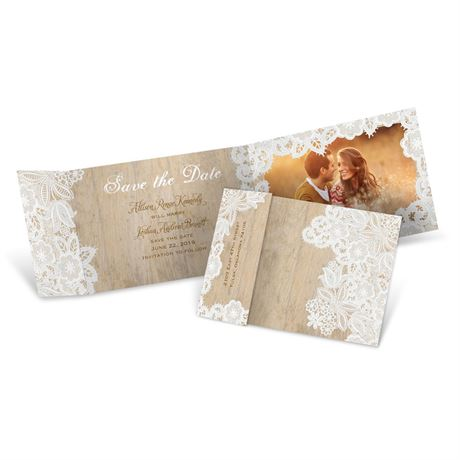 Wood and Lace Fold Up Save the Date