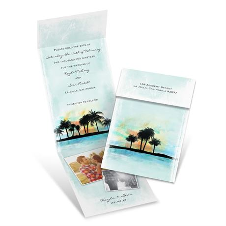 Tropical Watercolors Fold Up Save the Date