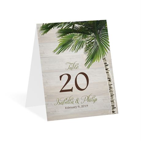 Palm Tree Paradise Table Number Card