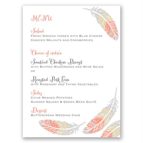 Dancing Feathers Menu Card