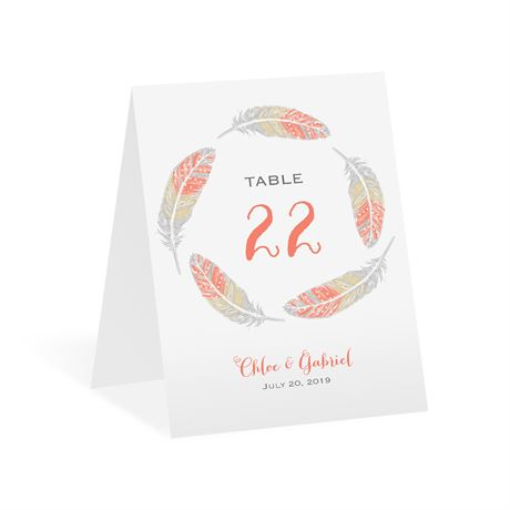 Dancing Feathers Table Number Card