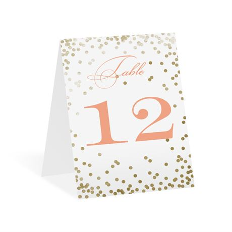 Gold Polka Dots - Table Number Card