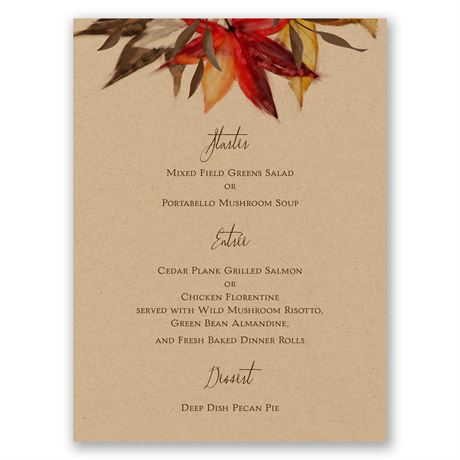 Autumn Maple Menu Card
