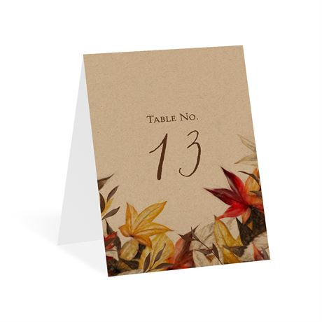 Autumn Maple Table Number Card