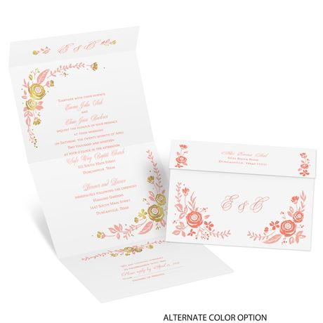 Roses and Whimsy - Gold Foil - Seal and Send Invitation