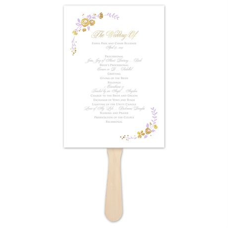 Roses and Whimsy - Gold Foil - Program Fan