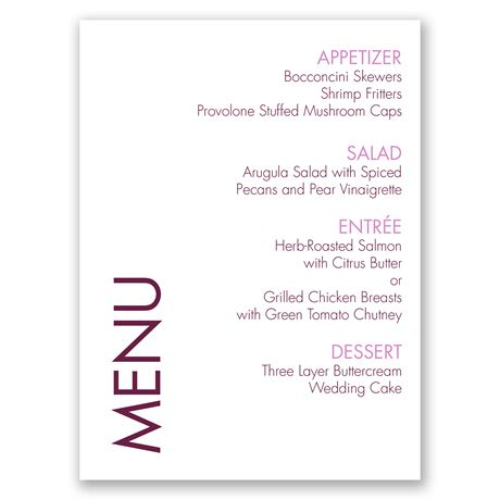 Sweet and Simple Menu Card