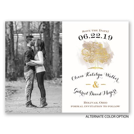 Majestic Oak - Gold Foil - Save the Date Card