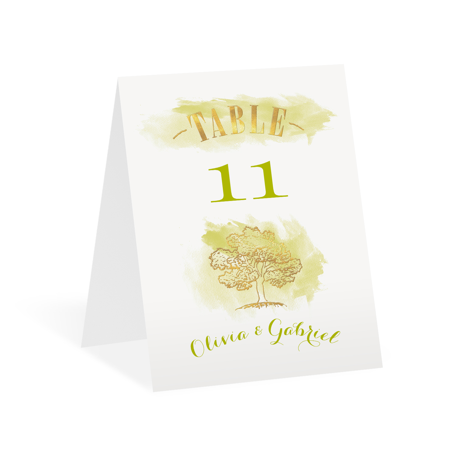 Majestic Oak - Gold Foil - Table Number Card