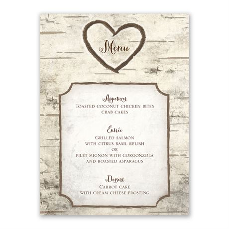 Birch Tree Carvings Menu Card