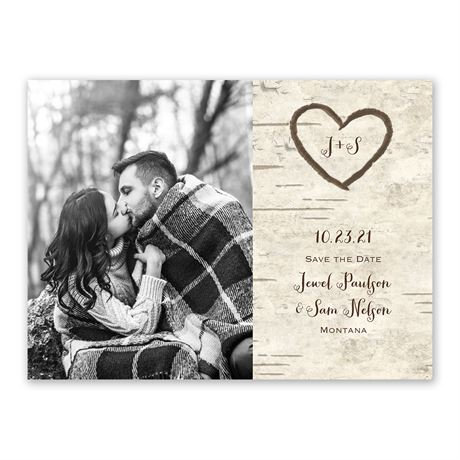 Birch Tree Carvings - Save the Date Card