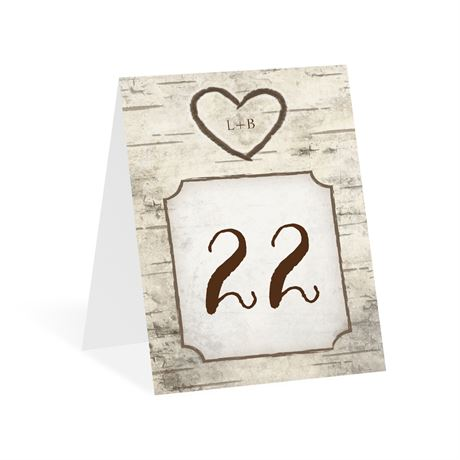 Birch Tree Carvings Table Number Card