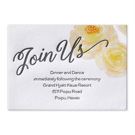 Watercolor Blossoms - Corabell - Letterpress Reception Card