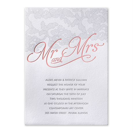 Chic Lace Letterpress Invitation