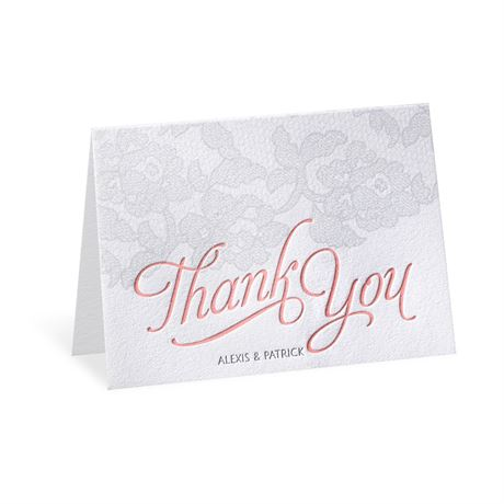 Chic Lace Letterpress Thank You Card