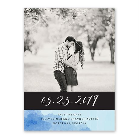 Love Embraced - Pastel Blue - Save the Date Card