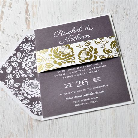Vintage Flair - Gold - Foil Invitation