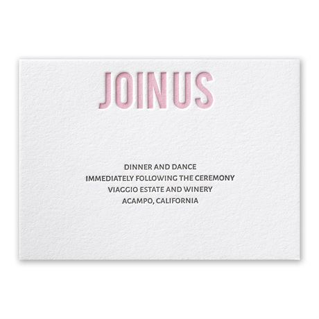 Sweet Simplicity Letterpress Reception Card