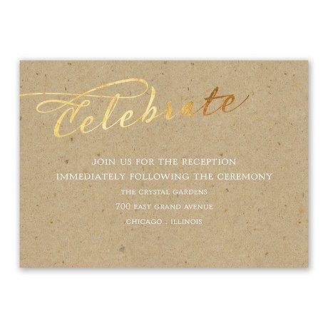 Rustic Glow - Gold Foil - Reception Card