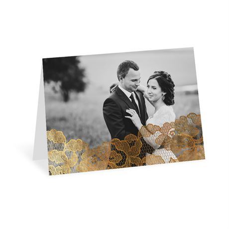 Lace Reflections Photo Foil Thank You Card