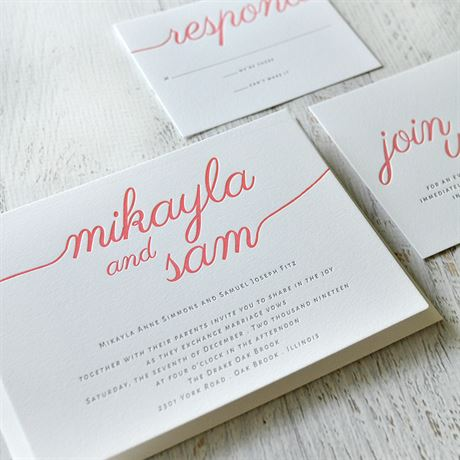 French Beauty - Letterpress Invitation