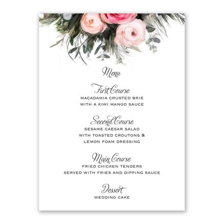 Ethereal Garden Menu Card