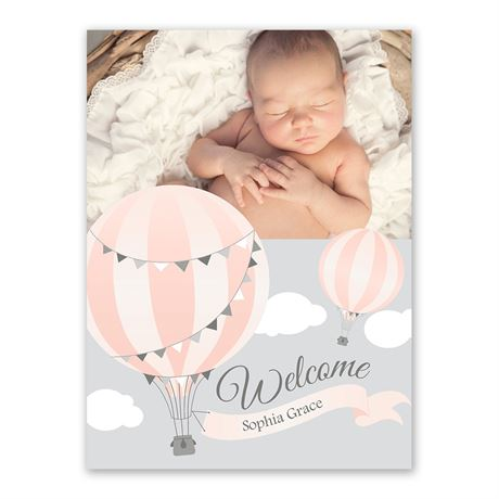 Up Up and Away Petite Birth Announcement