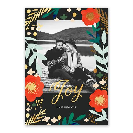 Joyful Florals Foil Holiday Card