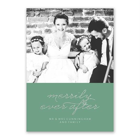 Merrily Ever After Faux Glitter Holiday Card