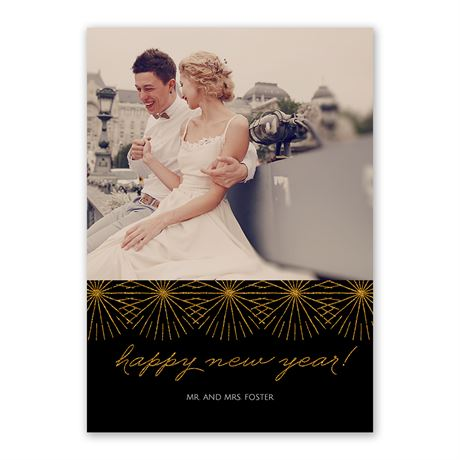 Fireworks - Faux Glitter - New Years Card