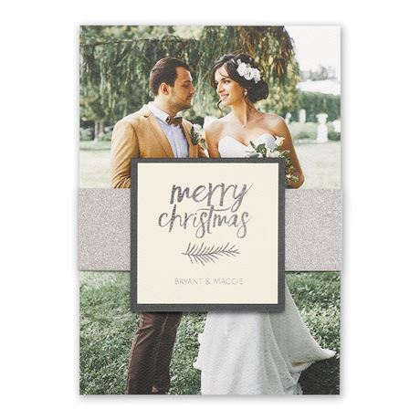 Silver Christmas Real Glitter Holiday Card