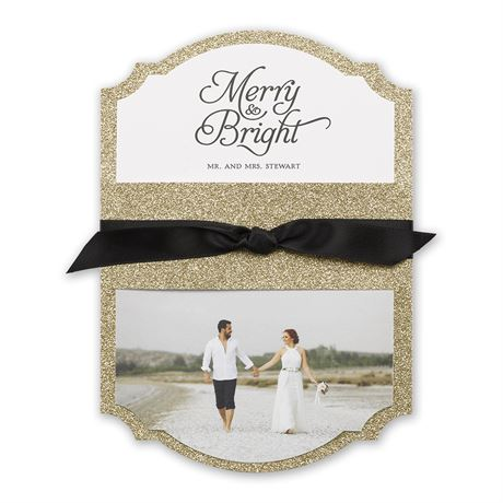 Gold Sparkle - Real Glitter Holiday Card
