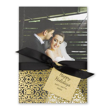 Gold Details Real Glitter and Foil Holiday Card