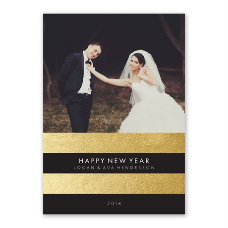Sophisticated Stripes - Foil Holiday Card