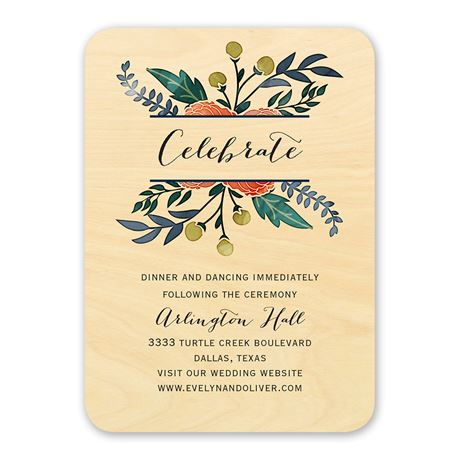 Floral Fancy Real Wood Reception Card