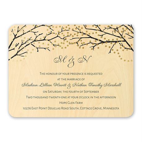 Sparkling Canopy - Real Wood Invitation with Foil