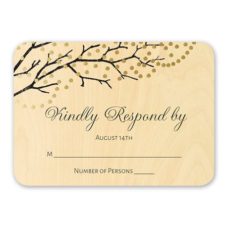 Sparkling Canopy - Real Wood Response Card with Foil
