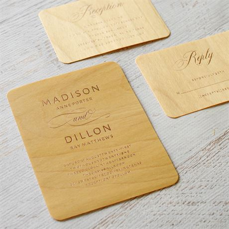 Elegance Engrained - Real Wood Invitation with Foil