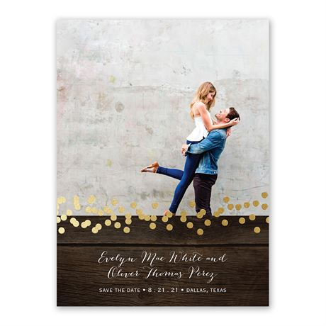 Rustic Beauty - Gold - Foil Save the Date Card