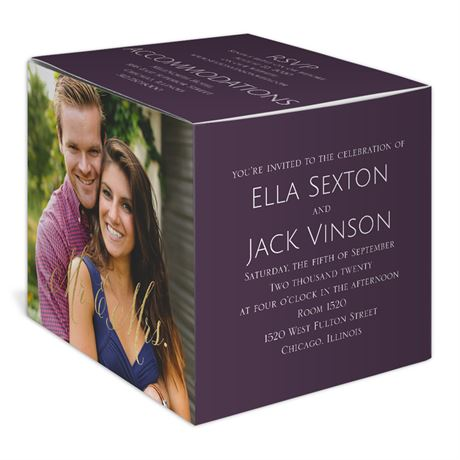 Happy Couple - Gold - Foil Photo Cube Invitation