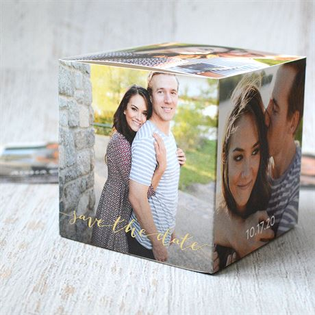 Block the Date - Gold - Foil Photo Cube Save the Date