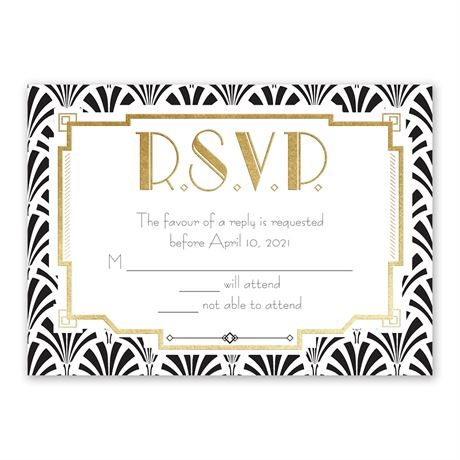 Radiant Art Deco - Gold - Foil Response Card
