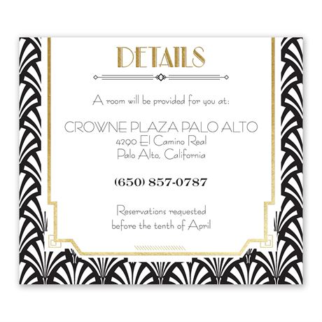 Radiant Art Deco Gold Foil Information Card